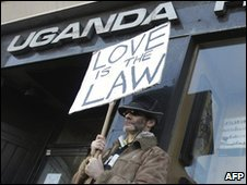 A gay rights demonstrator takes part in a protest outside the Uganda High Commissio in London