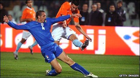 Robin van Persie clashes with Italian Giorgio Chiellini