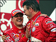 Michael Schumacher (left) and Ross Brawn in Ferrari days
