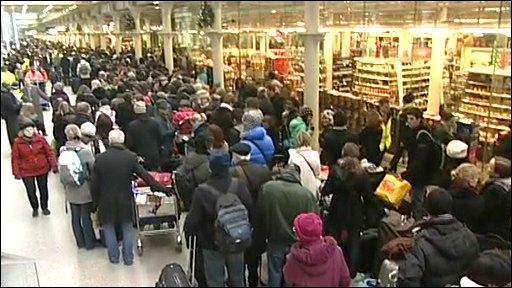 Passengers queue for Eurostar trains