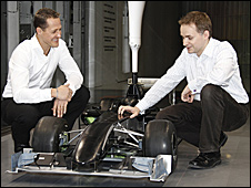 Michael Schumacher and principal aerodynamicist John Owen