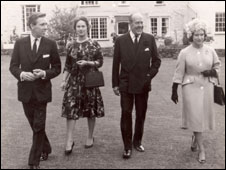 Lord Snowdon, Princess Margaret and guests ar Plas Dinas