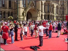 AC Milan fans gather in Albert Square