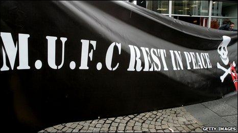 Banner protesting against the Glazer takeover