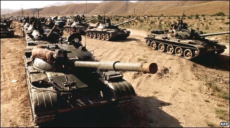 Soviet troops pulling out of Afghanistan in the mid-1980s