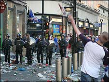 Police and Rangers fans in Piccadilly Gardens (Pic: Jeevandra Sivarajah)