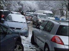Car stuck on Cryers Hill, Bucks (Pic by Amanda Dray)