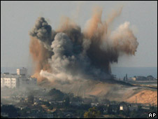 An Israeli missle strike in northern Gaza, January 2009
