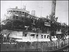 The Jewish immigrant ship the Exodus in 1947