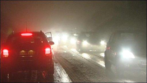 Traffic in snow