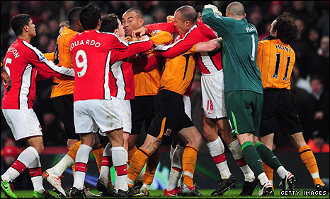 Hull and Arsenal players square up at the Emirates