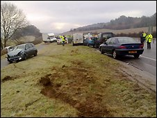 Car in the central reservation (pictures from Dorset Fire and Rescue Service)