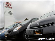 Toyota cars on display at dealership
