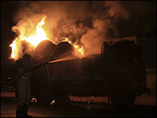 A truck set on fire by supporters of Telangana state on the night of 23 December 2009