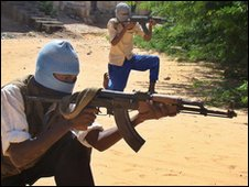 Islamist fighters in Mogadishu