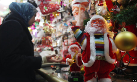Christmas decorations on sale in Baghdad