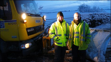 John Bryson and Tony Davidson with their gritter lorry
