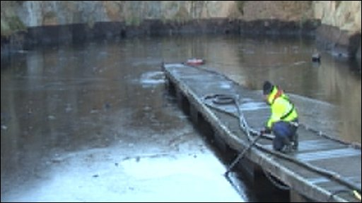 Oil being skimmed