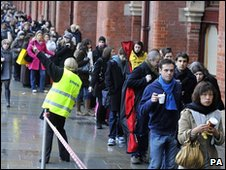 Eurostar passengers outside St Pancras Station