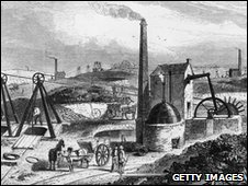 An engine drawing coal at the Staffordshire collieries