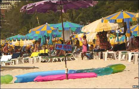 Patong beach umbrellas, Phuket, Thailand, 23 Dec 09