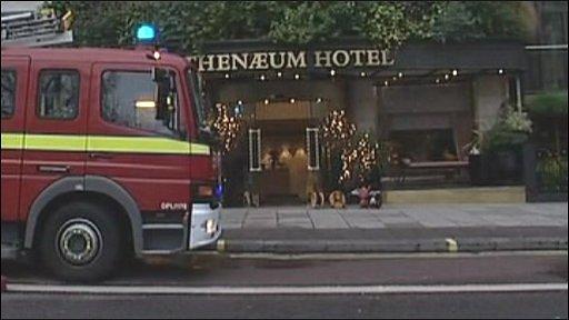Fire engine at Athenaeum hotel