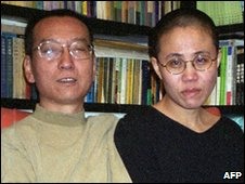 Liu Xiaobo (left) and his wife Liu Xia in Beijing in October 2002