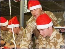 Christmas dinner at Camp Bastion