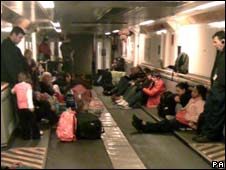 Eurostar passengers after moving to shuttle train
