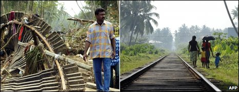 Photos showing a railway line destroyed in Sinigame, Sri Lanka, in 2004  and now rebuilt