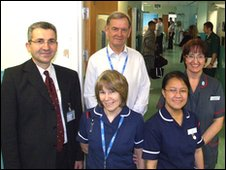 Ian Williams with emergency department staff
