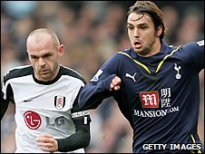 Fulham midfielder Danny Murphy and Tottenham's Niko Kranjcar in action during the meeting between their two sides at Craven Cottage