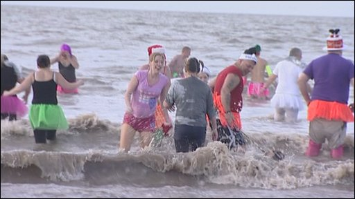 Boxing Day swimmers at Brean