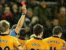 Stephen Ward is sent off