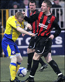 Chris Morrow of Crusaders was sent-off for striking out at George McMullan