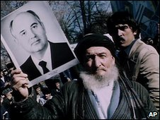 Tajiks demonstrate with a poster of Mikhail Gorbachev in Dushanbe, 1990