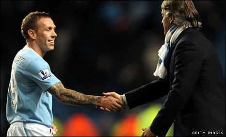 Craig Bellamy and Roberto Mancini
