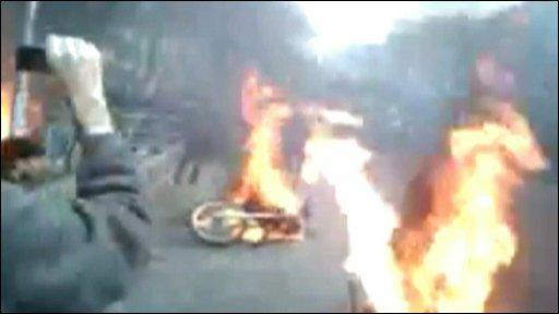 Motorbikes on fire