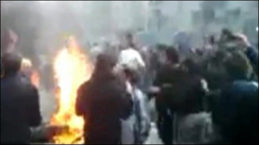 Still from amateur footage of protests in Tehran