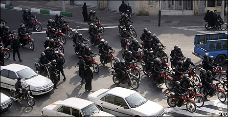 Iranian security forces in Tehran