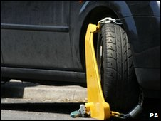 Car with wheel clamp