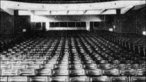 Black and white interior of cinema