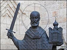 Bronze statue of Saint Nicholas outside the Orthodox Church of Saint Nicholas in Bari, Italy