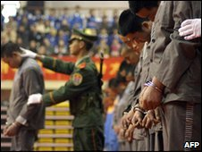 Prisoners are sentenced at a rally in the eastern city of Wenzhou. Some were executed shortly after - 7 April 2004