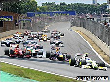 Rubens Barrichello's Brawn leads away at the start of the 2009 Brazilian Grand Prix