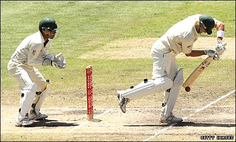 Shane Watson nearly plays on to his stumps