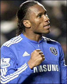 Didier Drogba celebrates scoring Chelsea's equaliser