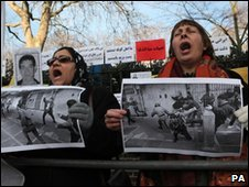 Protesters outside the Iranian embassy in London