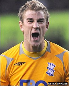 Joe Hart celebrates Birmingham's win over Stoke