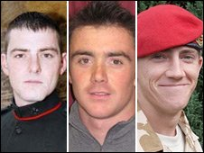 From left: L/Cpl Christopher Roney, L/Cpl Tommy Brown, L/Cpl Michael Pritchard